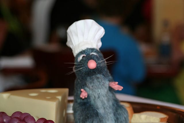a pest rat in a chefs hat