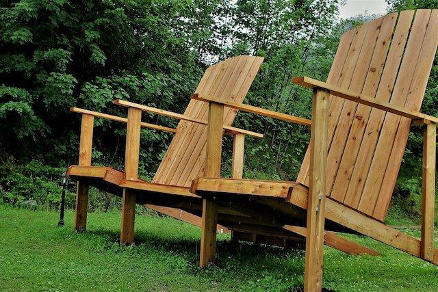 wooden furniture in a london garden