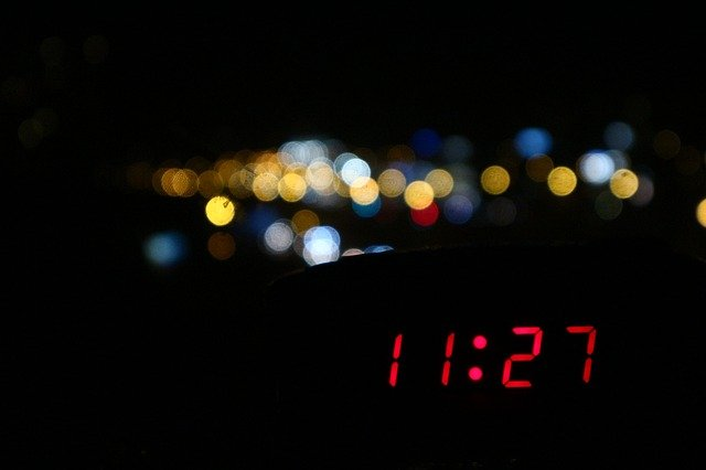clock showing night time