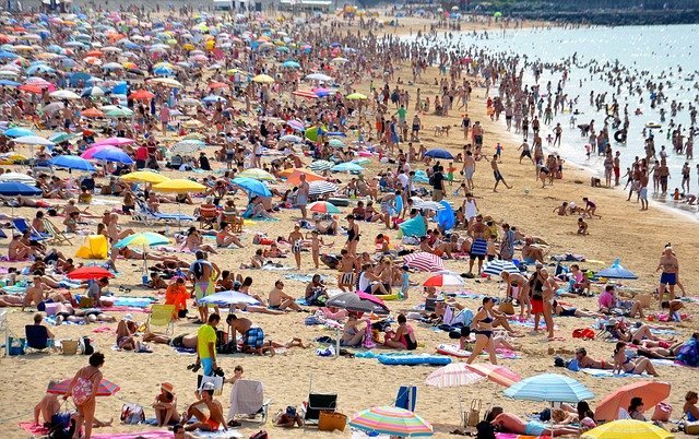 crowded beach near london